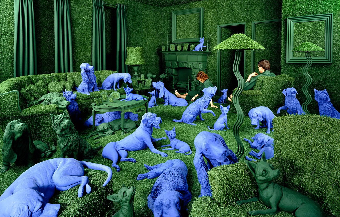 Photo wallpaper Sandy Skoglund, obsessions, blue dog, the green room