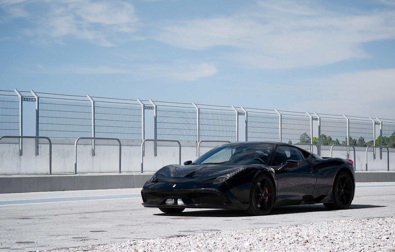 Photo wallpaper black, the fence, ferrari, Ferrari, black, 458 speciale