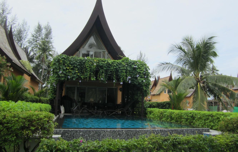 Photo wallpaper greens, the sky, water, house, Palma, stay, pool, yard, pagoda, gazebo, the bushes