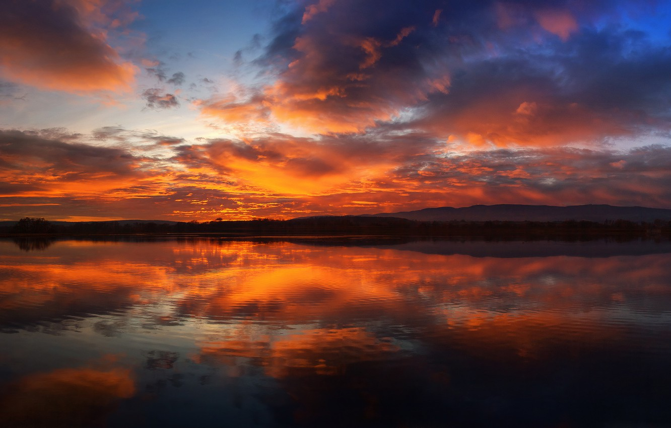 Photo wallpaper forest, the sky, clouds, sunset, mountains, reflection, river