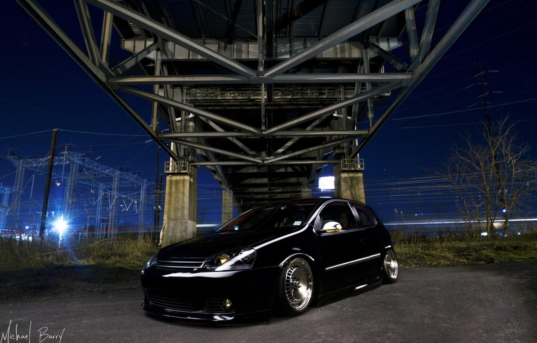 Photo wallpaper night, bridge, wire, black, Golf, golf, Volkswagen golf