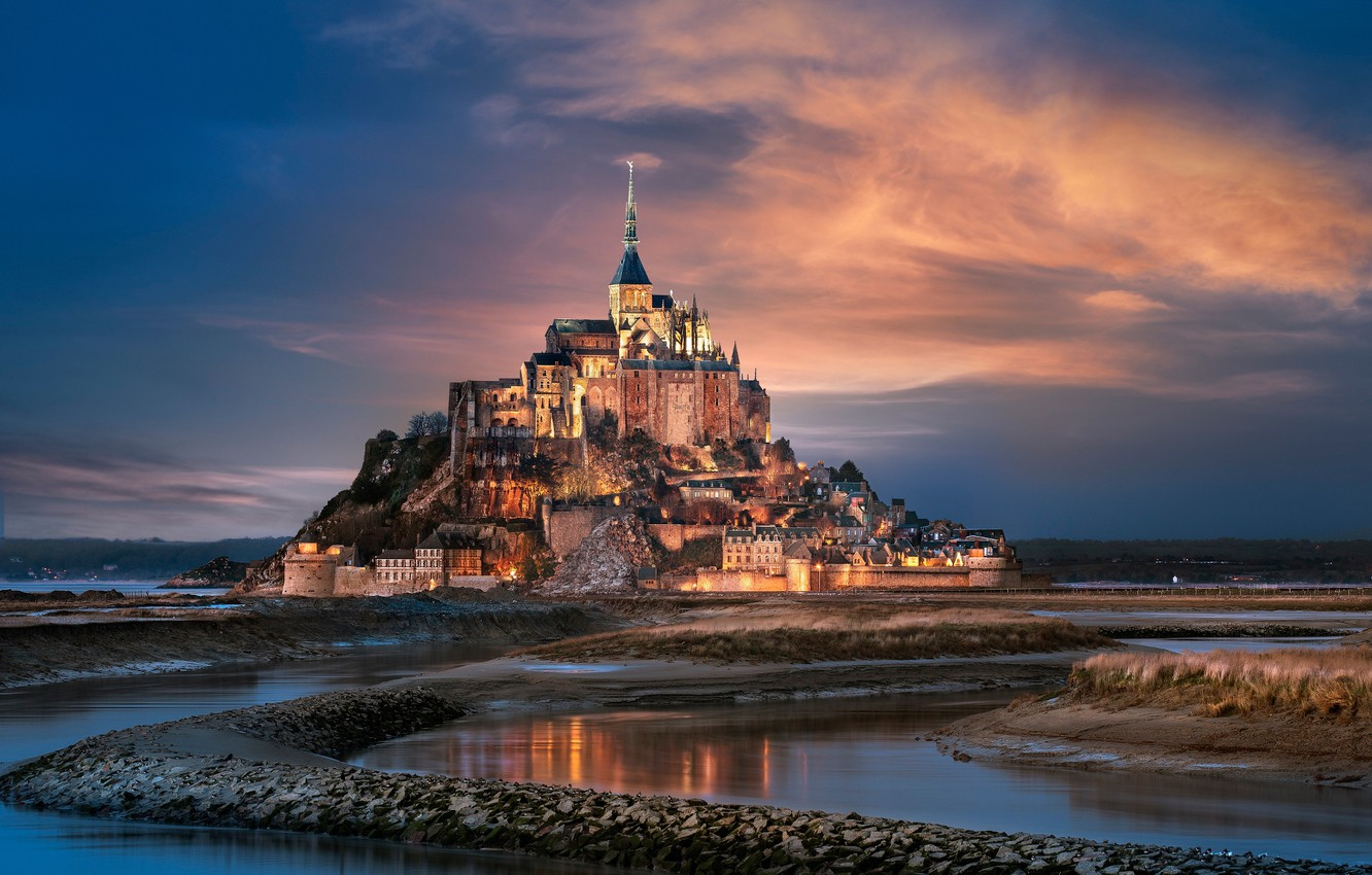 Photo wallpaper the city, France, Normandy, Mont-Saint-Michel, the mountain of the Archangel Michael, the island fortress of