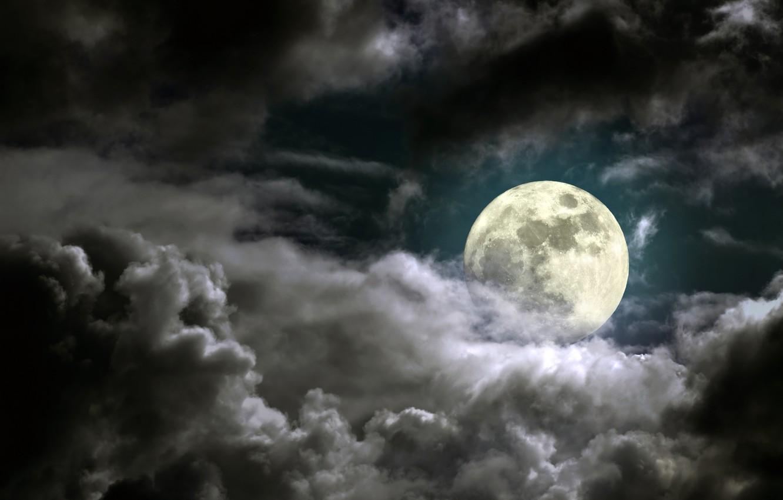 Photo wallpaper the sky, moonlight, sky, moonlight, full moon, full moon, cloudy night, cloudy night