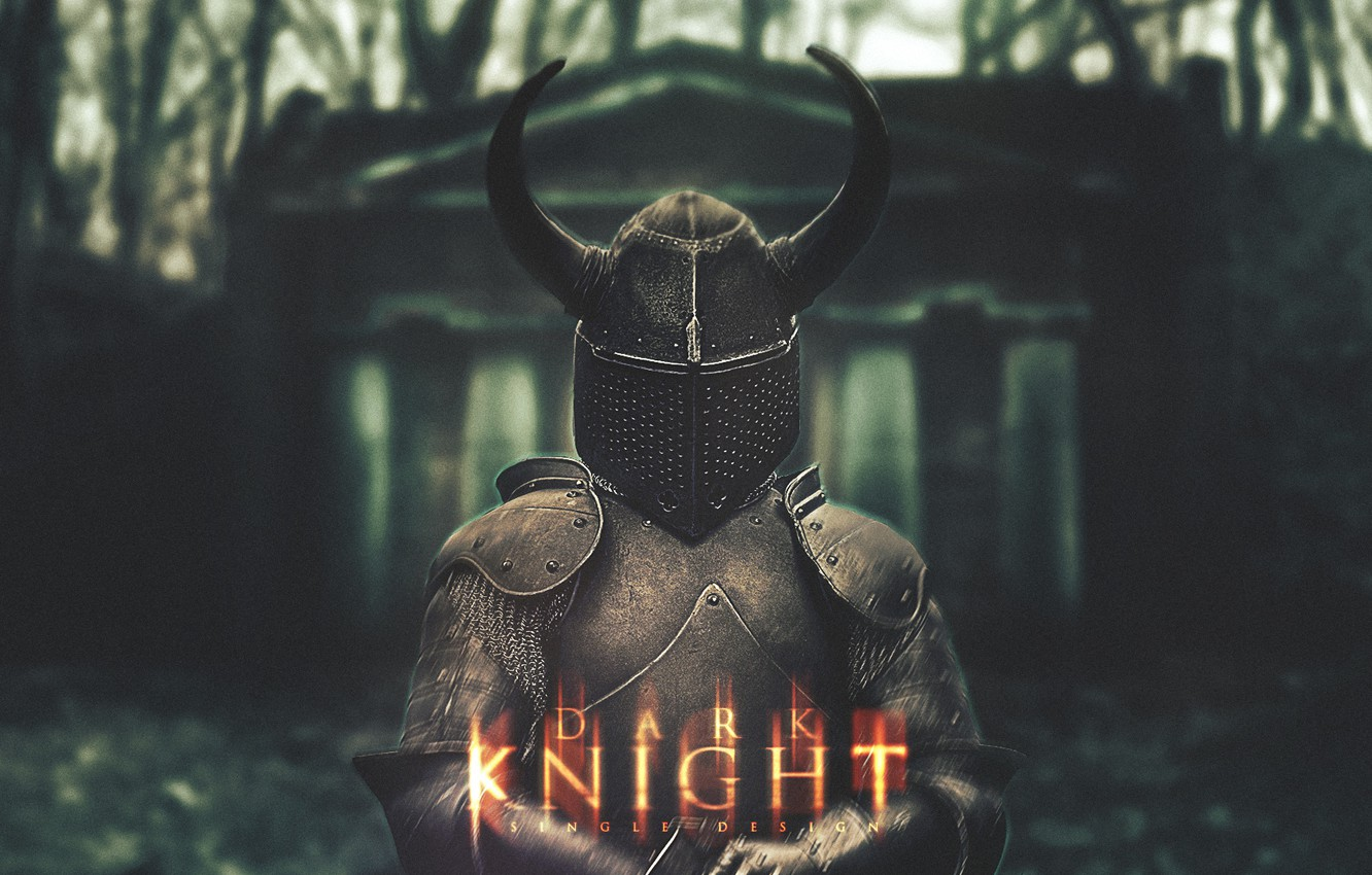 Photo wallpaper forest, darkness, Wallpaper, the darkness, dark, helmet, light, wallpaper, knight, knight