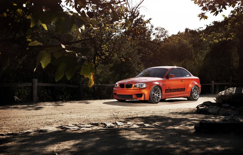 Photo wallpaper orange, BMW, BMW, orange, 1 series, E82