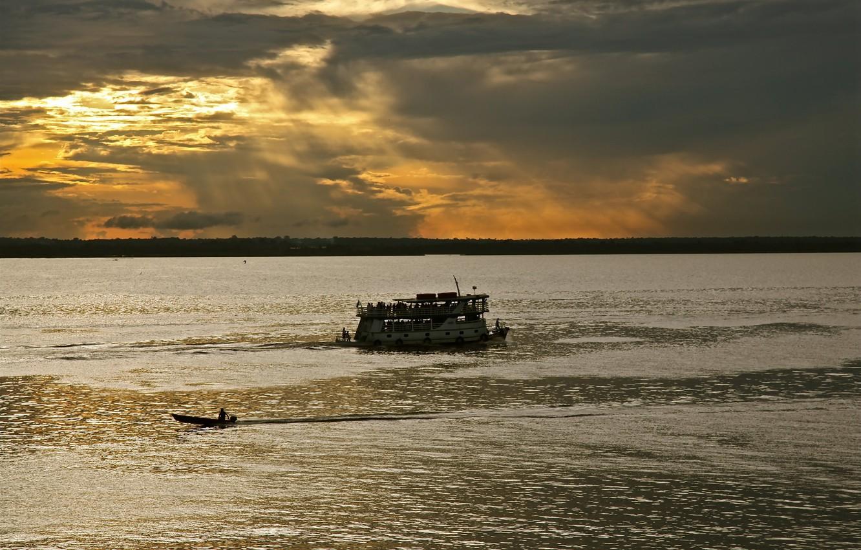 Photo wallpaper Clouds, Sunset, Brazil, Brasil, Boat, Canoe, Amazonas, Rio Negro, Manaus, Black River