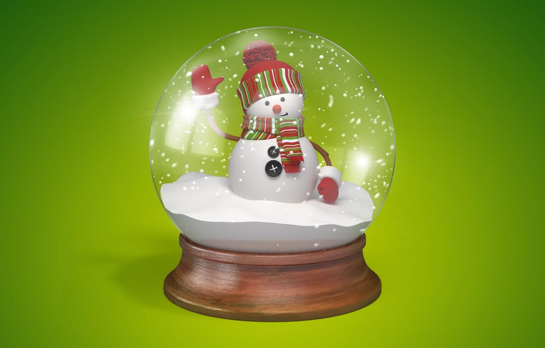 Photo wallpaper new year, ball, snowman, christmas, new year, cute, snowman