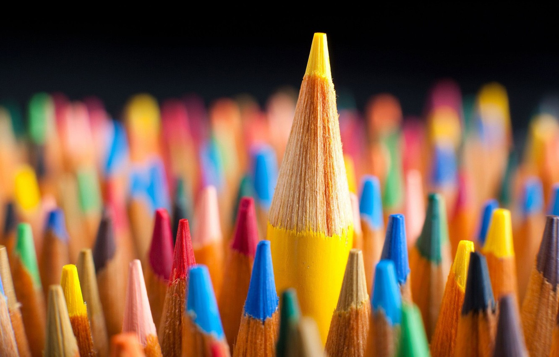 Photo wallpaper Macro, Red, Blue, Pencils, Colored, Red, Yellow, Green, Blue, Green, Color, Yellow, Macro, Pencils
