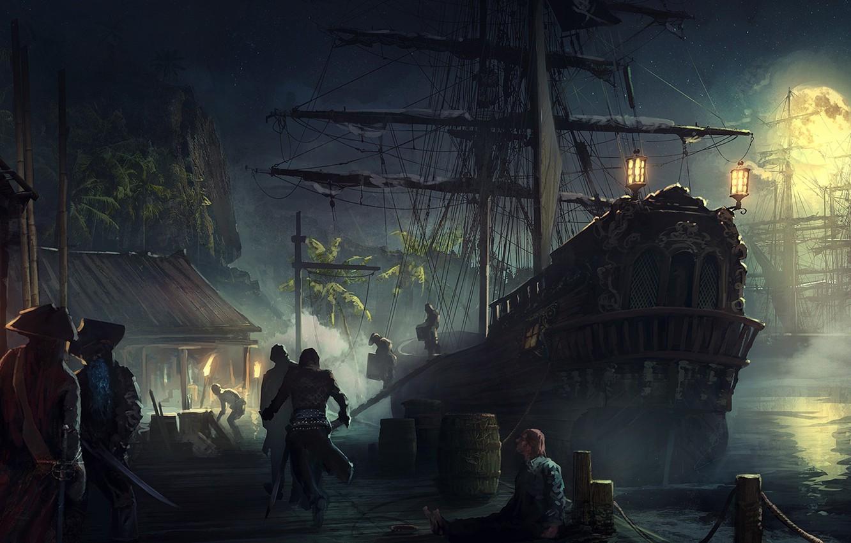 Wallpaper moon, fantasy, Pirates, night