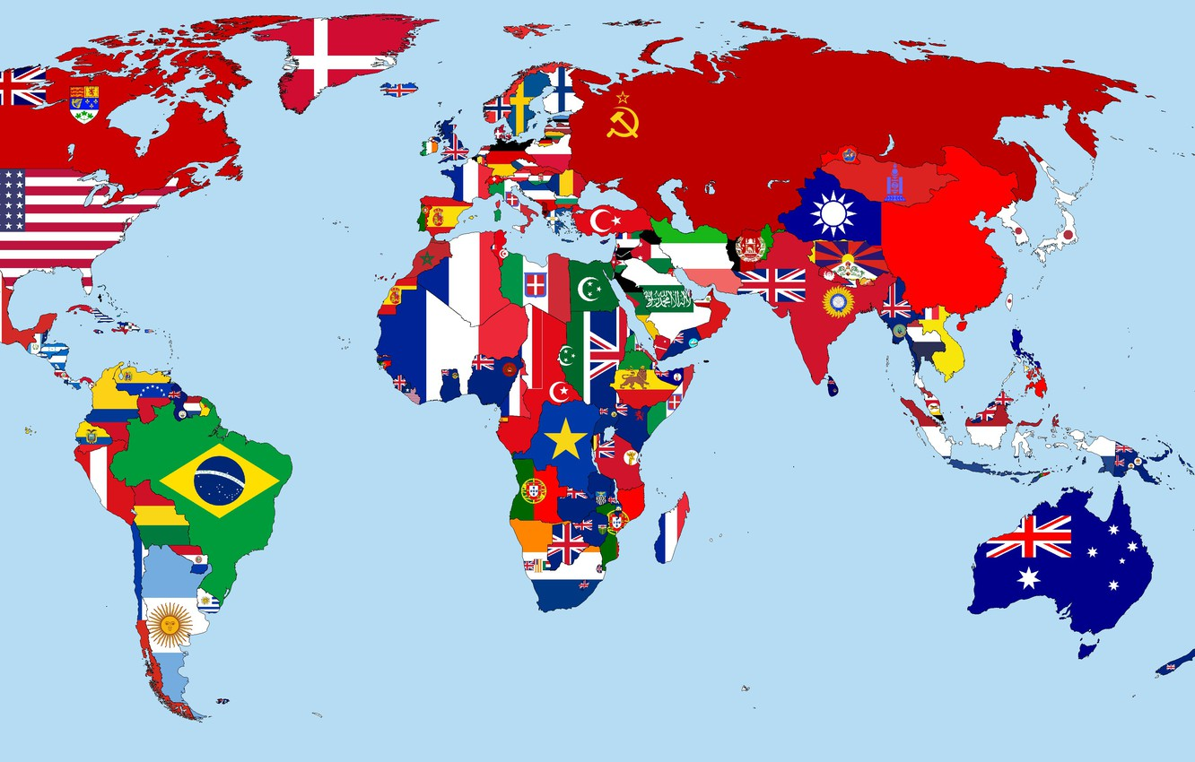 Wallpaper Map Flags Year The World Countries 1930