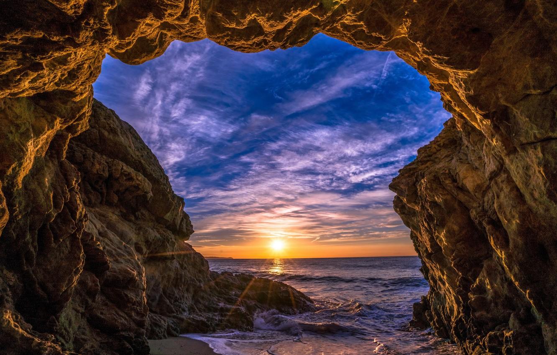 Photo wallpaper sea, the sky, the sun, clouds, rays, sunset, stones, rocks, shore, horizon, arch, USA, Malibu, …