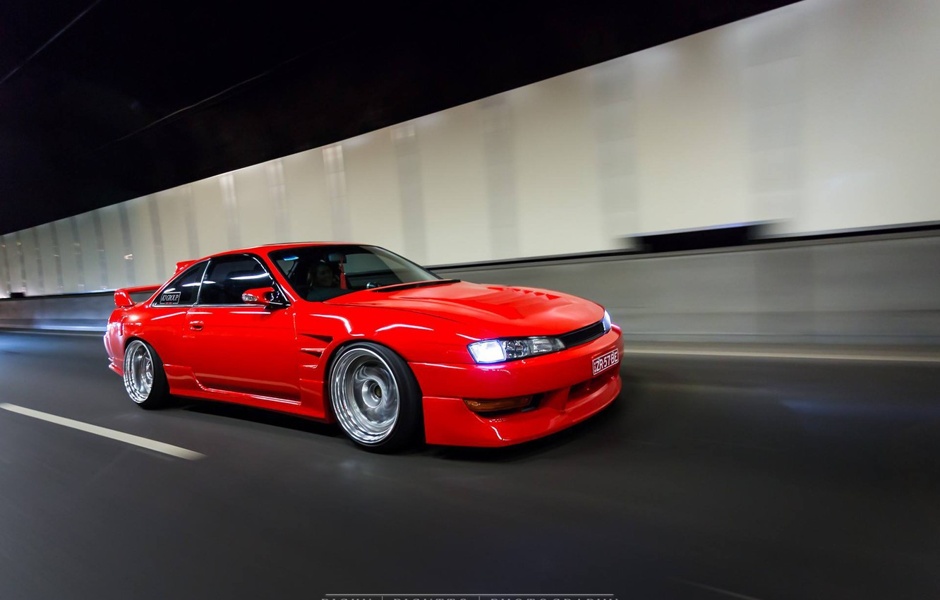 Photo wallpaper nissan, turbo, red, japan, jdm, tuning, silvia, speed, low, 200sx, s14, stance
