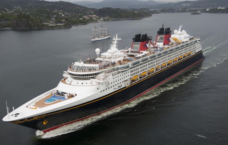 Photo wallpaper sea, sailboat, Norway, liner, Norway, cruise, North sea, North Sea, Bergen, Mountains, Disney Magic