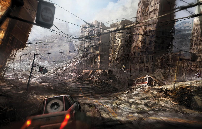 Photo wallpaper city, ruins, destruction, apocalyptic, fast car