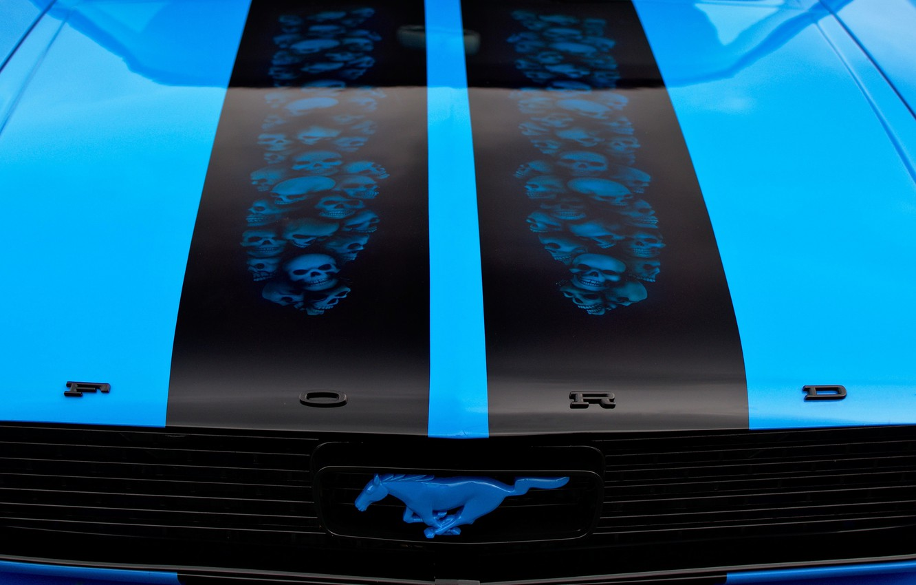 Photo wallpaper the hood, airbrushing, Ford Mustang, classic, 1966