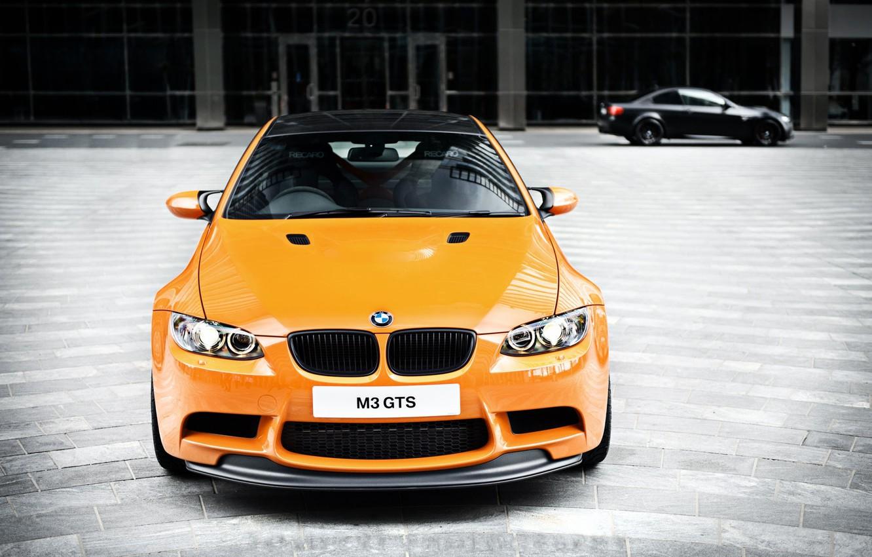 Photo wallpaper orange, bmw, BMW, the front, orange, e92, daylight, carbon fiber roof, m3 gts