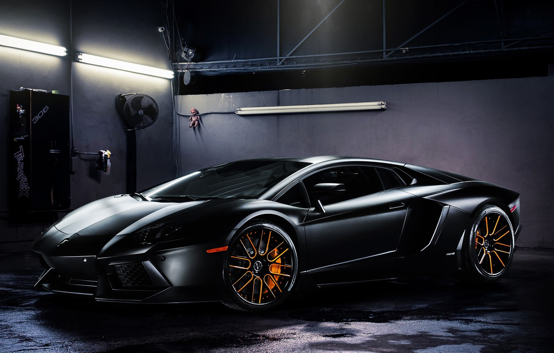 Photo wallpaper light, lamp, black, lamborghini, black, side view, aventador, lp700-4, Lamborghini, aventador