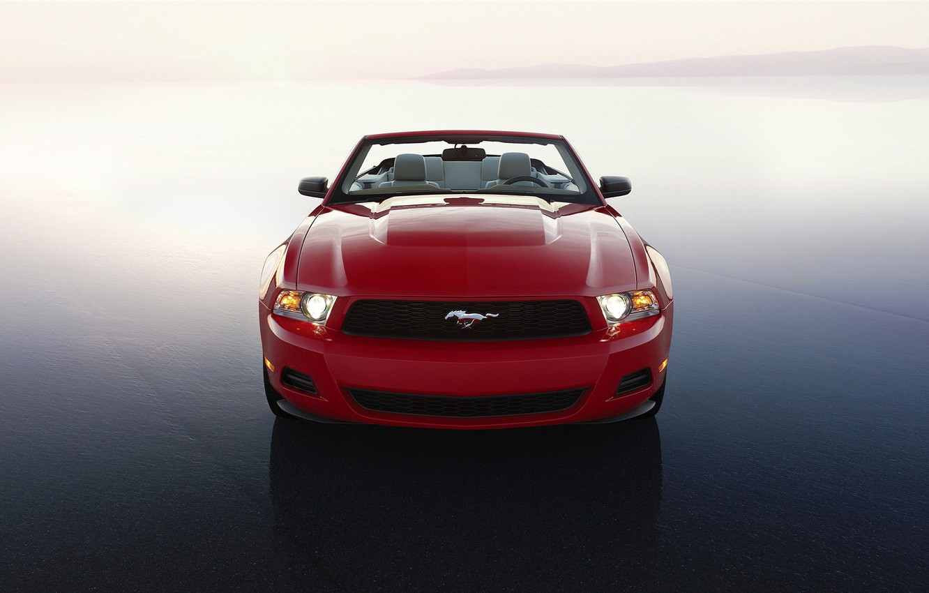 Photo wallpaper machine, machine, red, widescreen, auto walls, Ford Mustang, ford mustang 2010