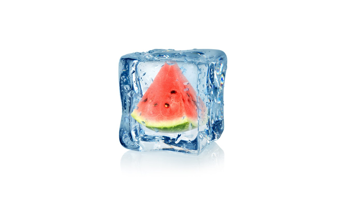 Photo wallpaper drops, abstraction, watermelon, water, art, ice, cube, water, ice, fruit, frozen, drops, watermelon, white background, …