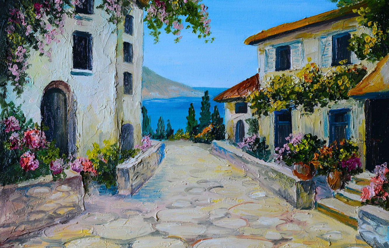 Photo wallpaper summer, flowers, river, street, Windows, home