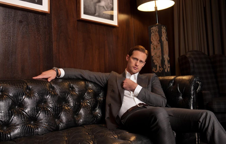 Photo wallpaper look, sofa, watch, lamp, leather, costume, male, shirt, actor, jacket, Director, writer, Aalexander Skarsgard, Alexander …