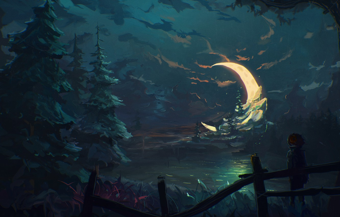 Photo wallpaper forest, night, the moon, the fence, tree, boy, art, Crescent