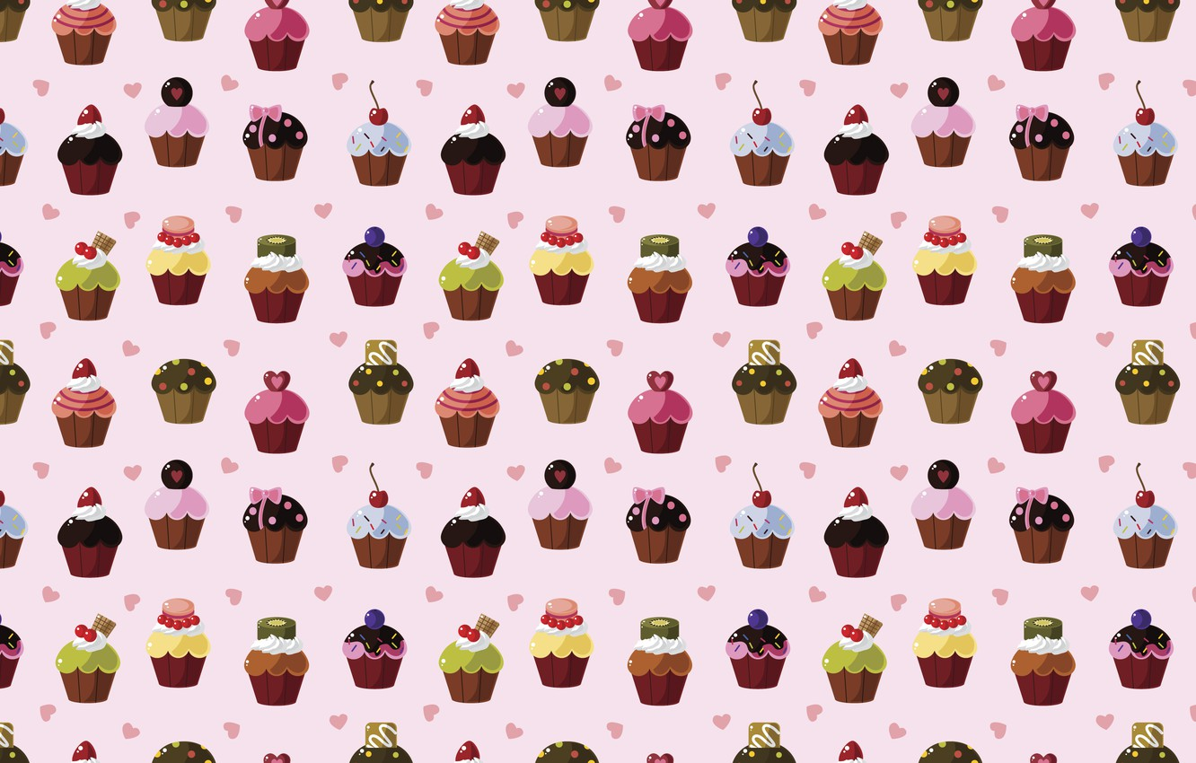 Photo wallpaper texture, hearts, sweets, cupcakes, cake, sweet background, snacks