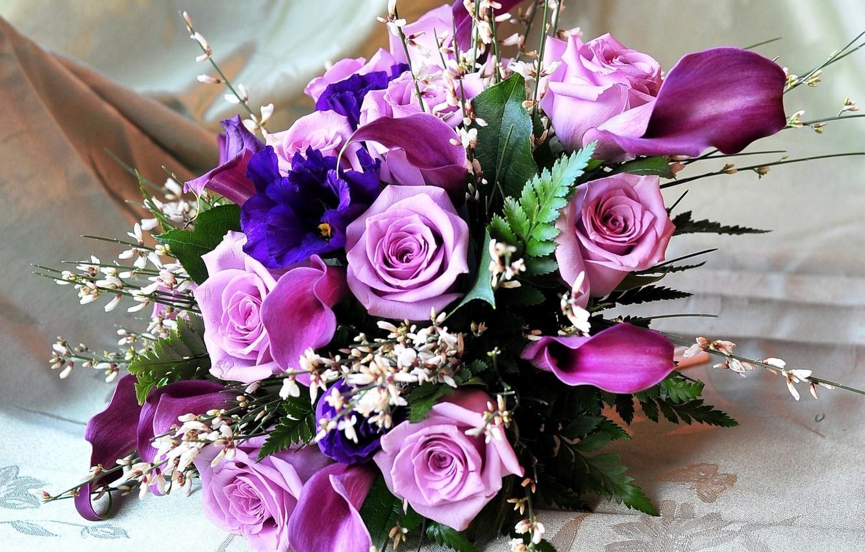 Photo wallpaper flowers, roses, bouquet, Calla lilies