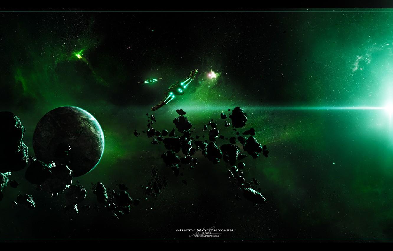 Photo wallpaper nebula, planet, ships, asteroids
