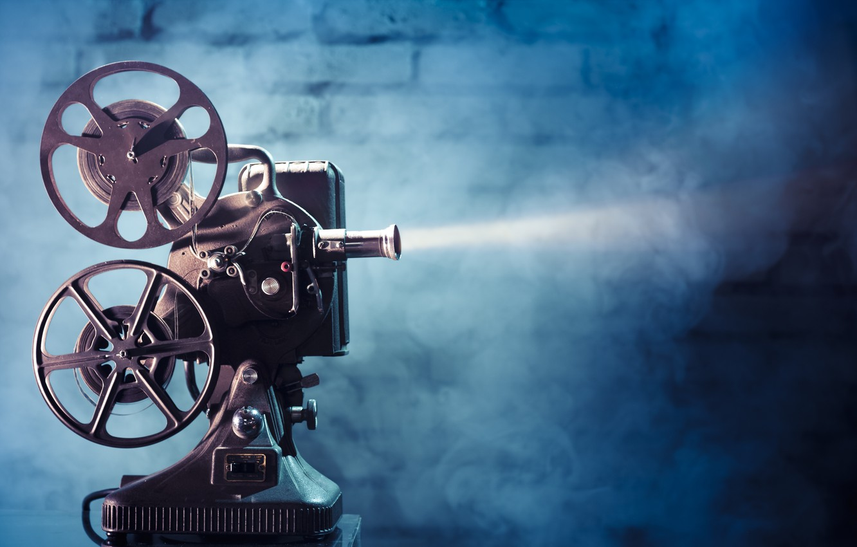 Photo wallpaper light, movie, film, film projector