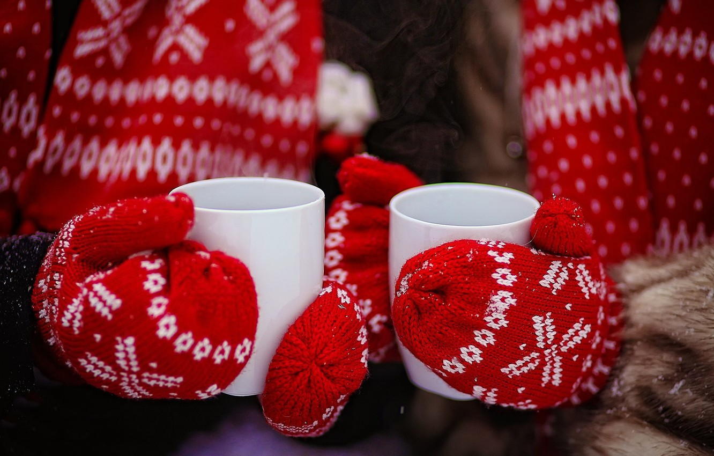 Photo wallpaper winter, red, tea, hands, Cup, gloves