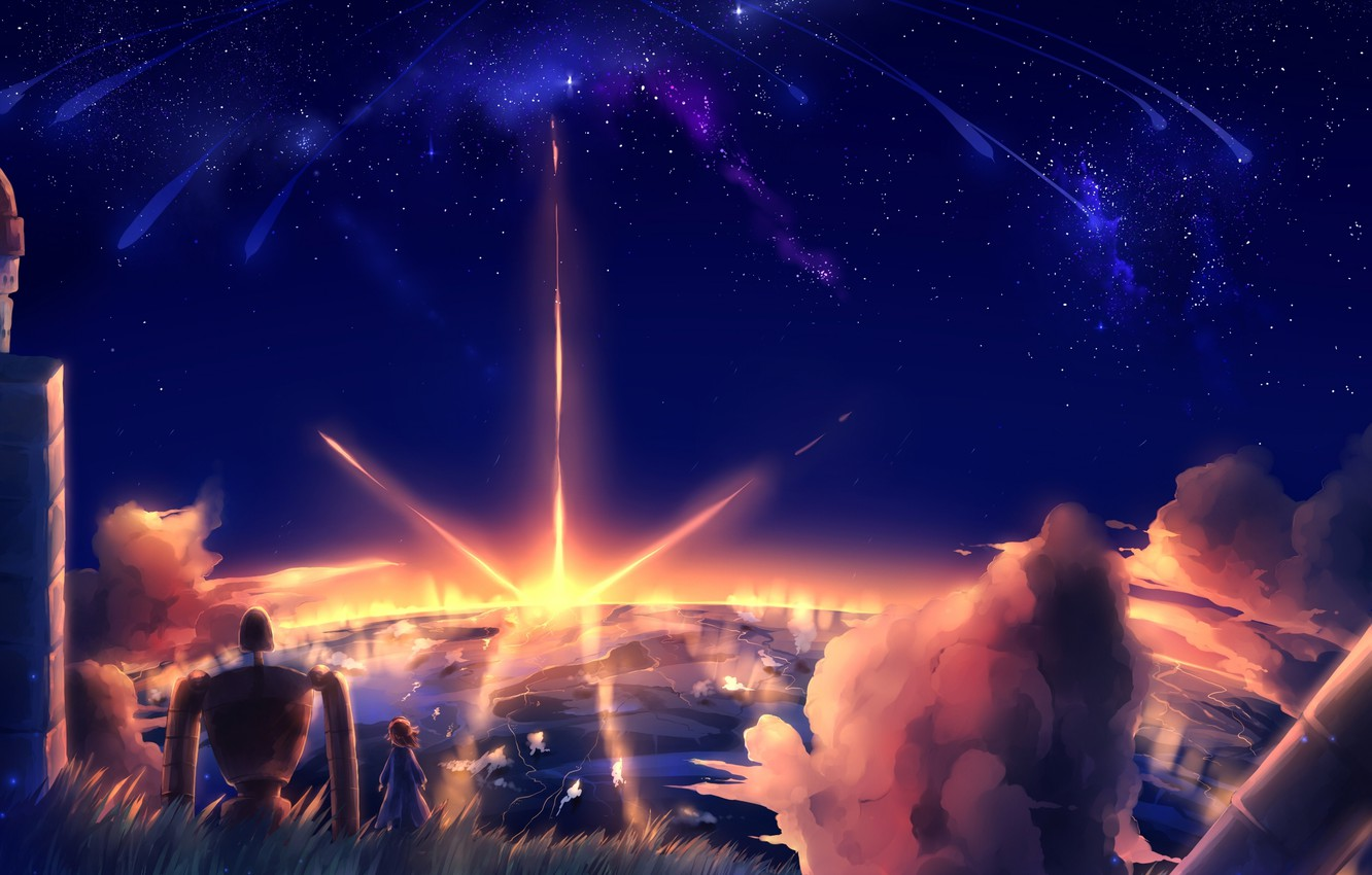 Wallpaper The Sky Stars Clouds Sunset Nature Robot Anime