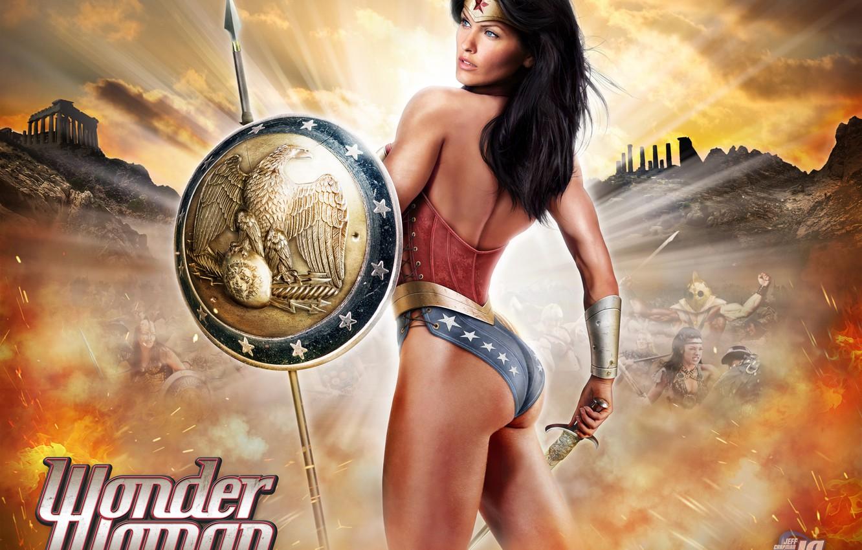 Photo wallpaper Sword, Warrior, Comic, Wonder Woman, Art, Sexy Girl, Shield, Alice Goodwin, Big Boobs, Amazon, Wonder …