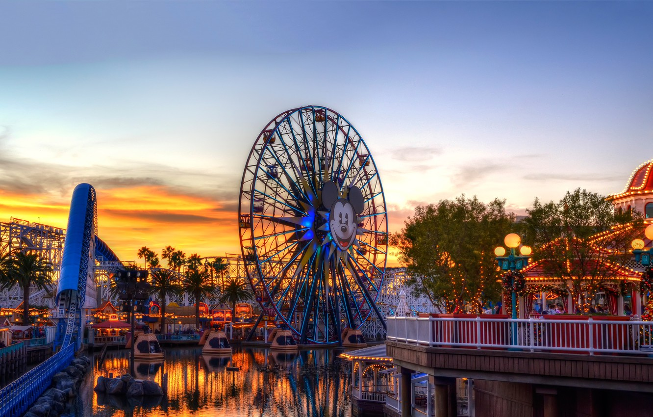 Photo wallpaper the sky, clouds, Park, the evening, wheel, CA, rides, slides, USA