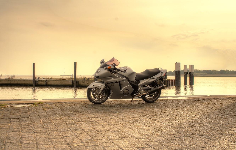 Photo wallpaper the sky, grey, pier, motorcycle, honda, bike, Honda, cbr1100xx