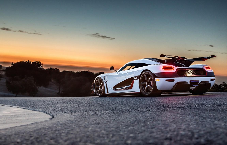 Photo wallpaper Koenigsegg, Sunset, White, Supercar, Track, Rear, One:1