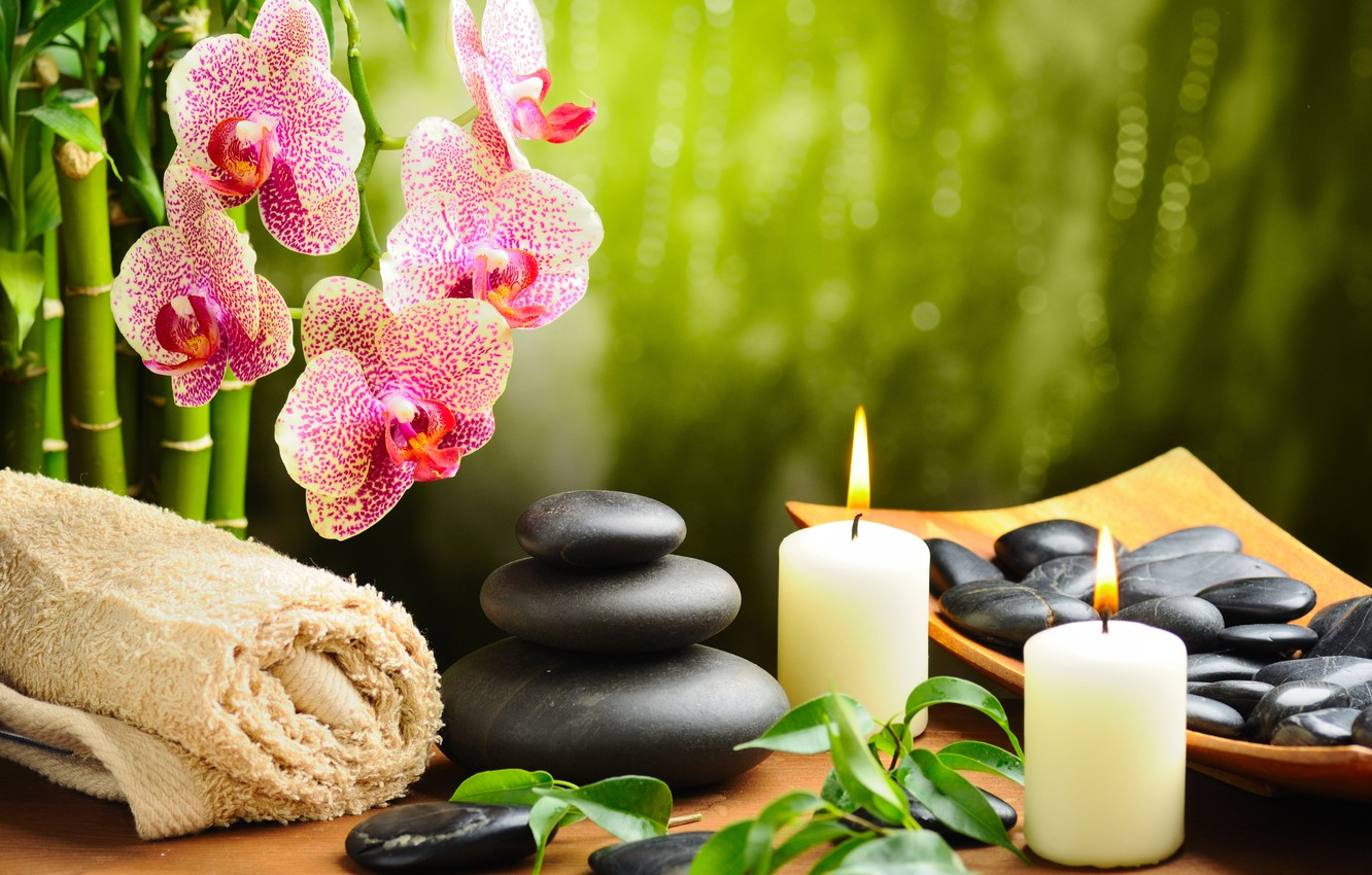 Photo wallpaper flower, stones, towel, candles, bamboo, Orchid, black,