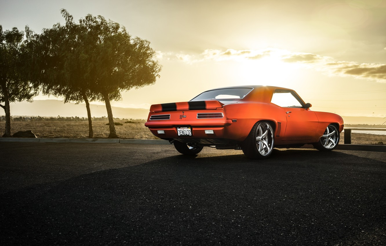 Photo wallpaper Chevrolet, Muscle, Camaro, Orange, Car, Sunset, American, Z28, Rear