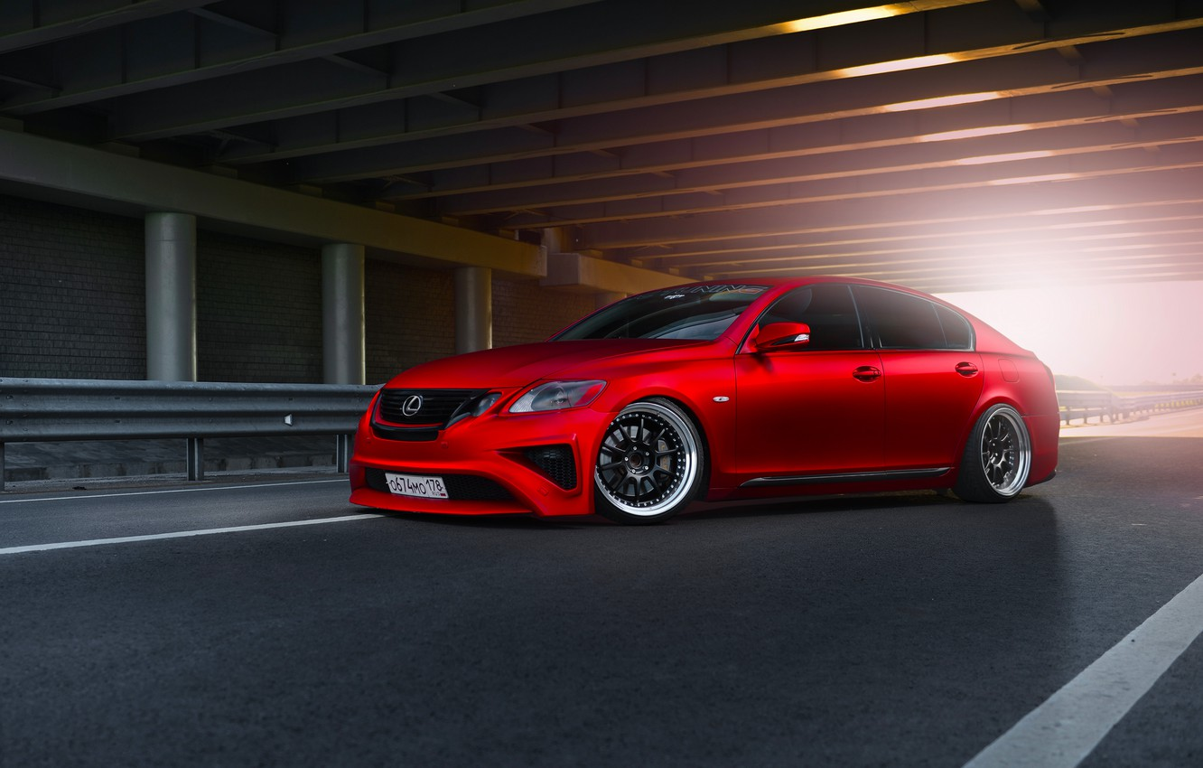 Photo wallpaper Lexus, Red, Car, Front, Sun, Matte, Tuning, Sport, GS300, Metallic