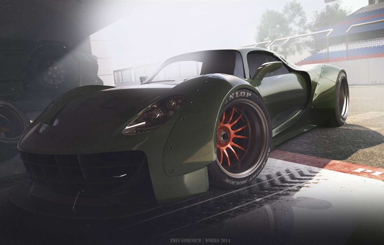 Photo wallpaper Concept, Porsche, Car, Race, Front, 918, Wheels, Garage, Ligth