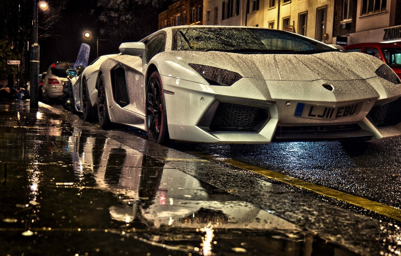 Photo wallpaper Street, White Aventador, Lamborghini Aventador under rain at night, Aventador in Street, Two Lamborghini, Aventaror, …