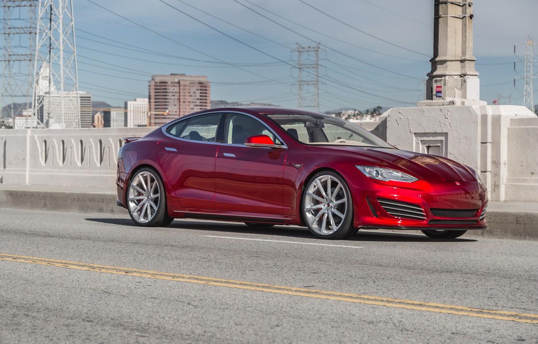 Wallpaper Red Tesla Tuning Model S Images For Desktop
