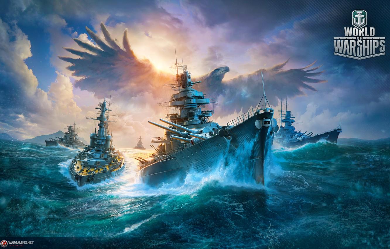 Photo wallpaper war, ships, Bird, eagle, combat, Battleship, World of