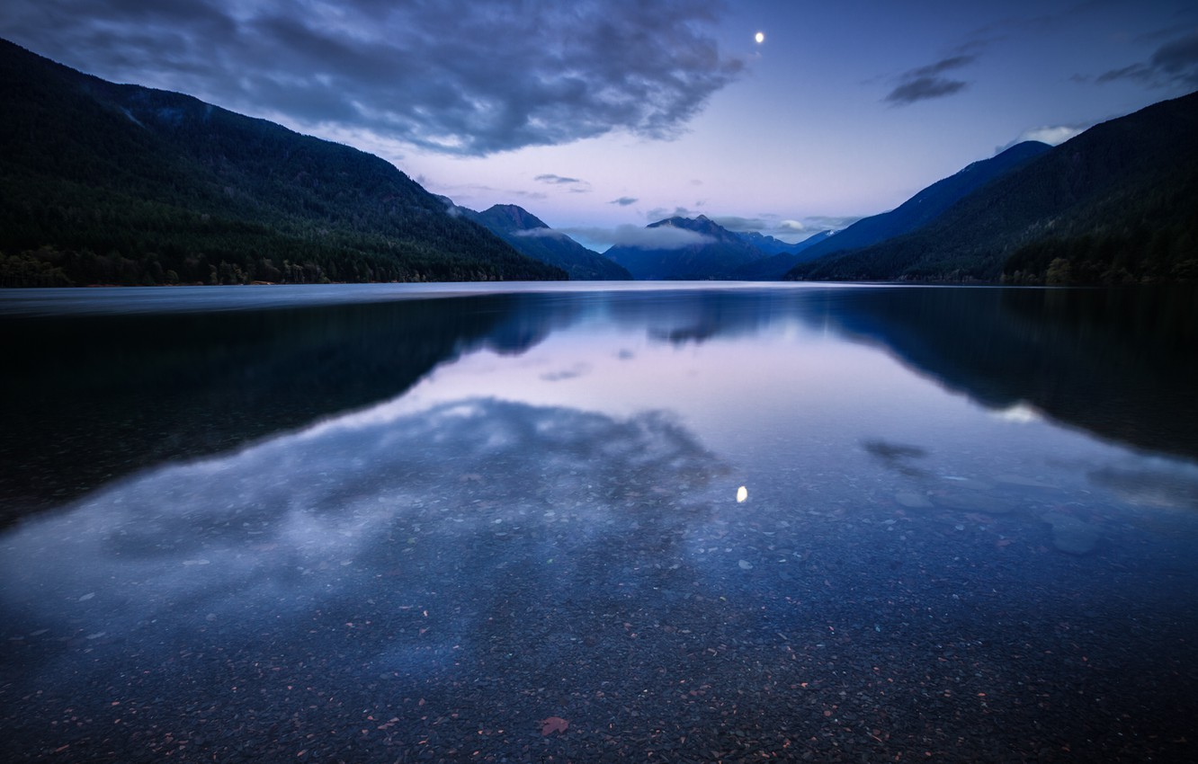 Photo wallpaper forest, the sky, water, clouds, mountains, night, lake, surface, reflection, the moon, USA, blue, lilac, …
