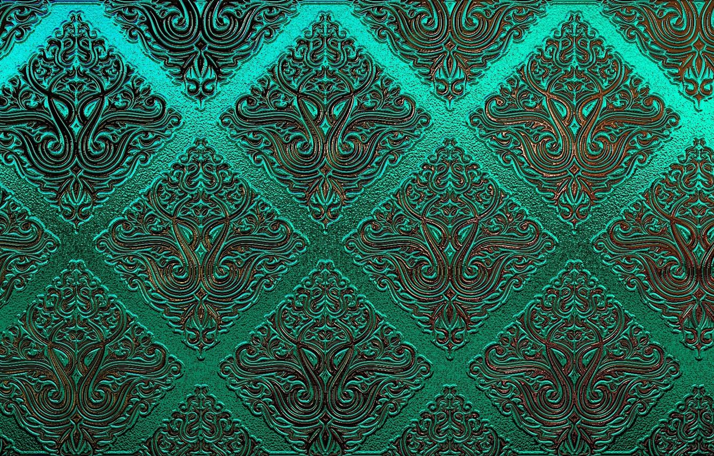 Photo wallpaper green, patterns, texture, ornament