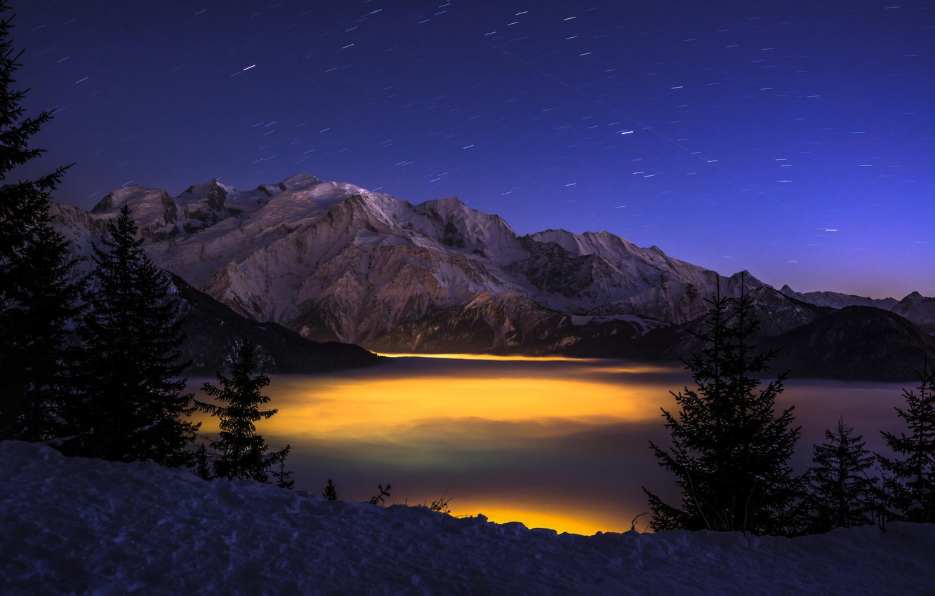 Photo wallpaper winter, forest, clouds, mountains, night, lights, height, gorge