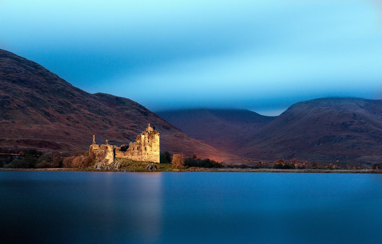 Photo wallpaper mountains, lake, Scotland, UK, haze, lake, Scotland, Great Britain, Loch Awe, Kilchurn castle, Kilchurn Castle
