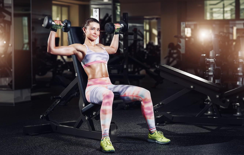 Photo wallpaper sexy, woman, pose, gym, dumbbells
