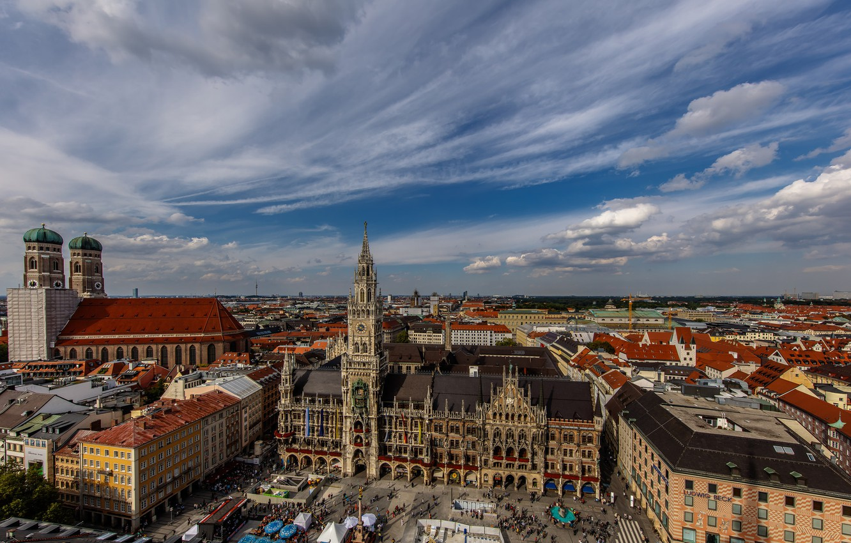 Photo wallpaper Germany, Munich, panorama, town hall, Marienplatz