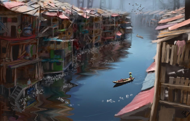 Photo wallpaper birds, river, people, boat, home, hat, art, channel, buildings, shacks, slums